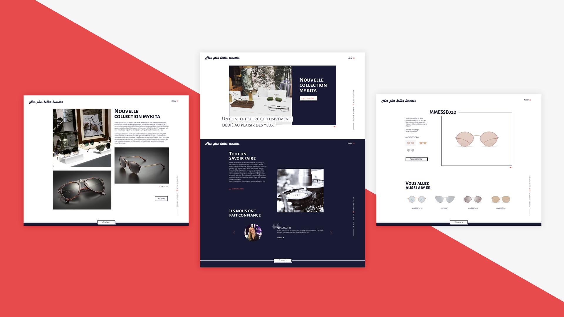 Vues desktop sites web Mes Plus Belles Lunettes