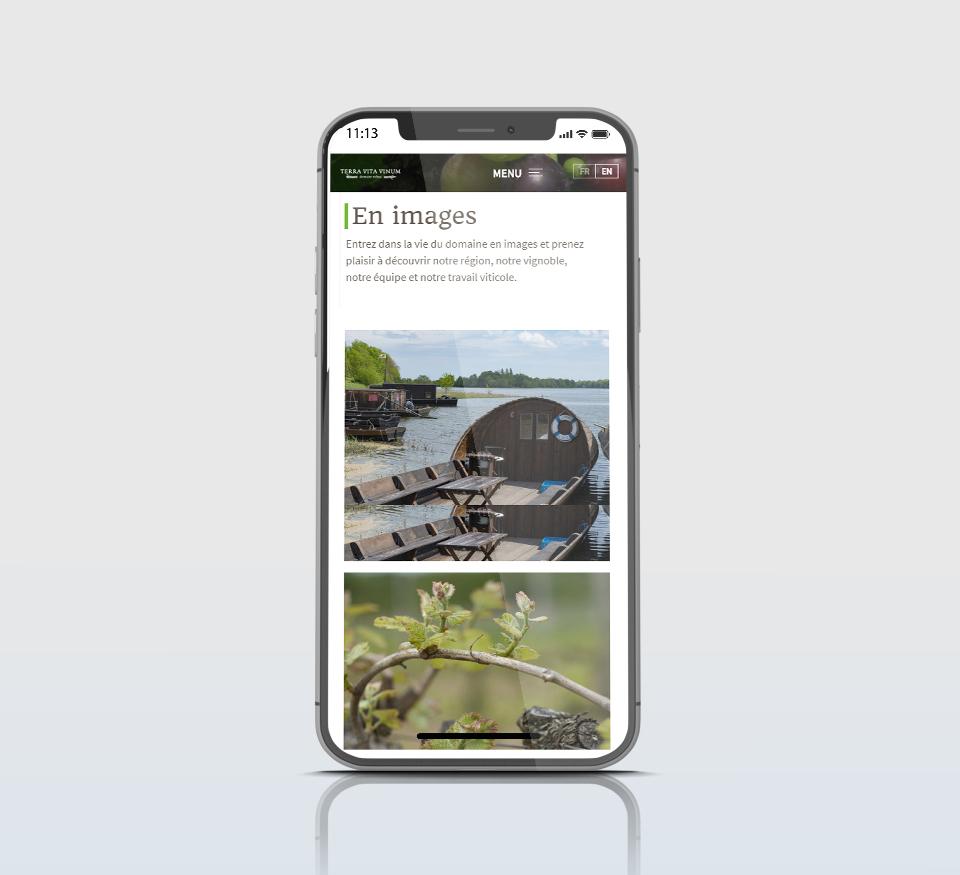 Vue mobile du site TVV
