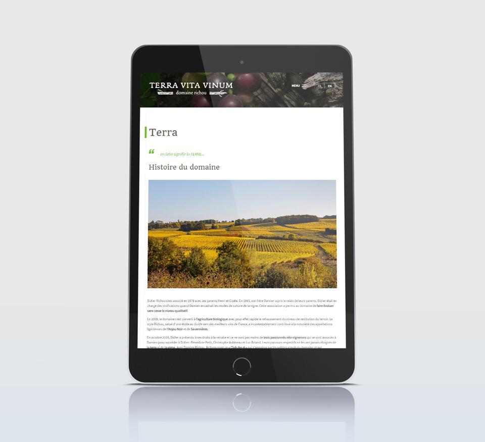 Vue tablette du site Terra Vita Vinum